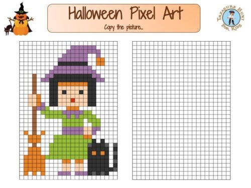 Free printable Pixel Art for kids for Halloween!