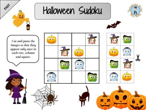 Halloween sudoku puzzle for kids to print