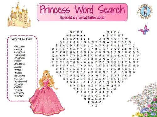 Princess word search for kids to print