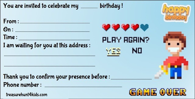 Video game birthday party invitation to print