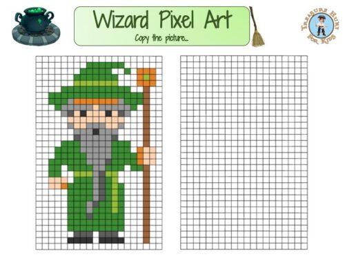 Printable wizard Pixel Art for kids