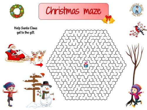 Christmas maze for kids to print