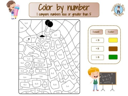 First grade color by number: giraffe