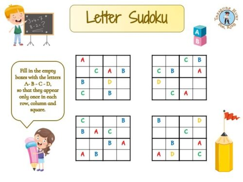 Free letter sudoku game for kids to print