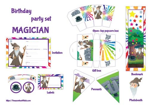 Magician birthday party printables for kids to print