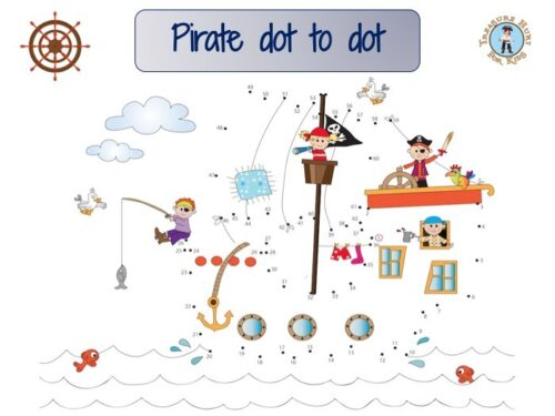 Pirate dot to dot: draw the lines connecting the dots in order to reveal the outline of a pirate ship.