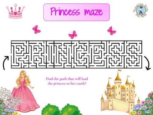 Princess maze for kids to print