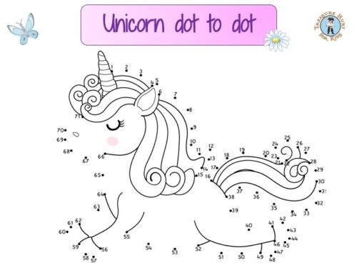 Unicorn dot to dot: draw the lines connecting the dots in order to reveal the outline of a unicorn