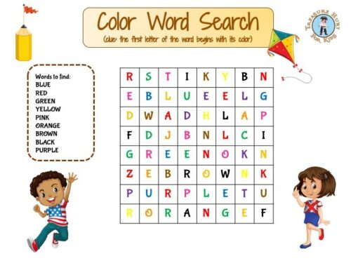 Color word search puzzle for kids