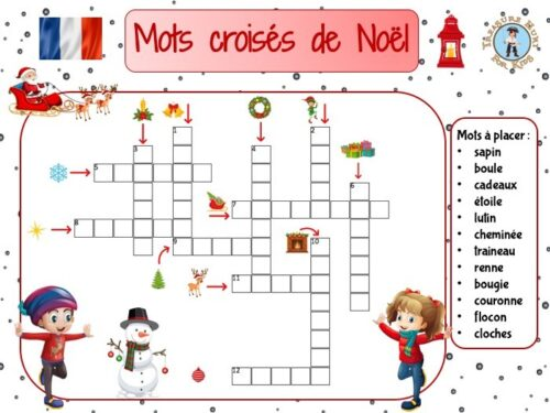 French Christmas crossword puzzle