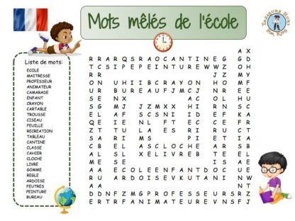 French School Word Search Puzzle