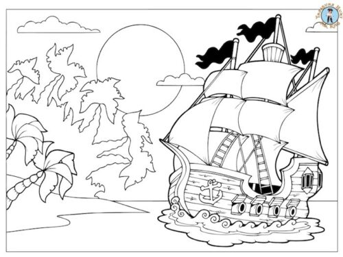 Pirate island coloring page