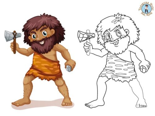 Prehistory coloring page
