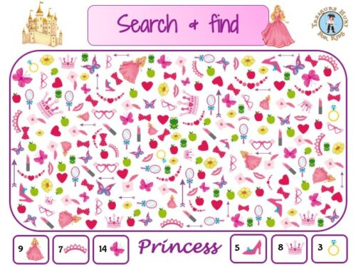 Princess search and find to print for kids