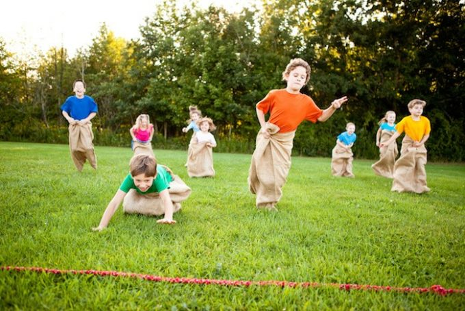 Sack race with kids