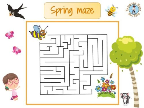 Spring maze for kids to print
