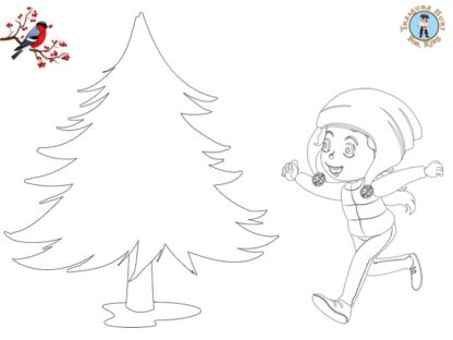 Winter coloring page for kids to print