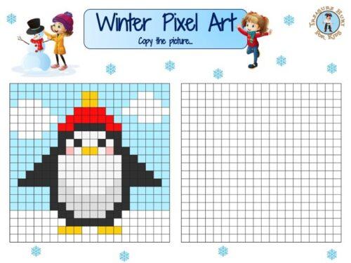 Winter Pixel Art Grid
