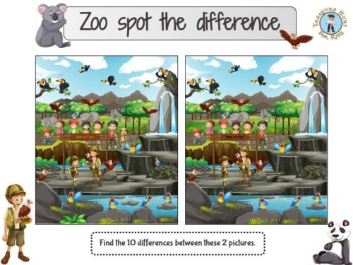 Zoo spot the difference puzzle