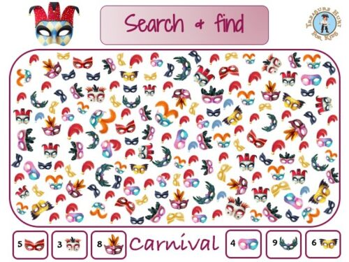 Carnival search and find to print for kids
