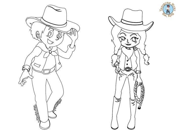 Cowboy Coloring Page Free Printables Treasure Hunt 4 Kids
