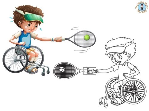 Disability athlete playing tennis coloring page