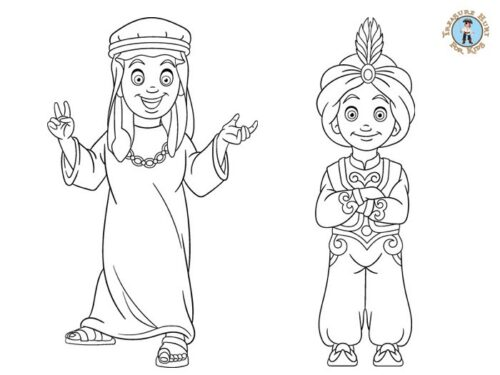 Middle Eastern children coloring page