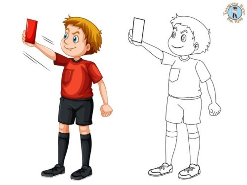 Soccer referee coloring page