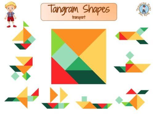 Tangram shapes for kids, transport-themed