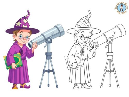 Witch coloring page for kids