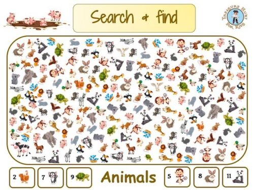 Animals search and find to print for kids