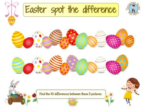 Easter eggs spot the difference game
