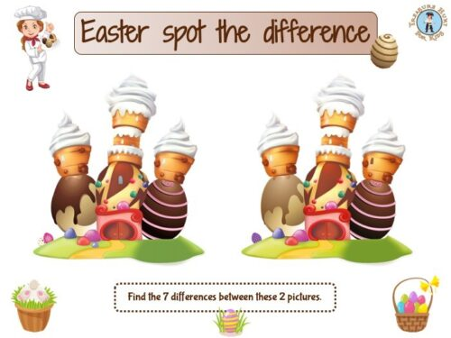 Easter spot the difference game for kids to print