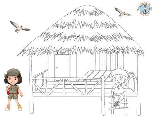 Hut coloring page