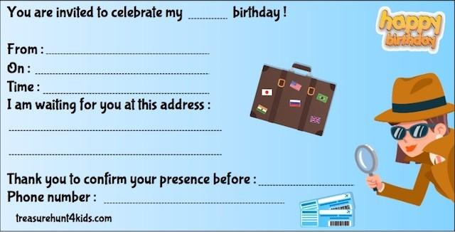 Around the world birthday party invitation