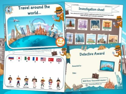 Around the world investigation game to print
