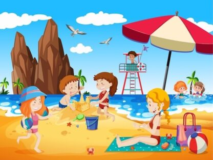 Printable beach investigation for kids activity