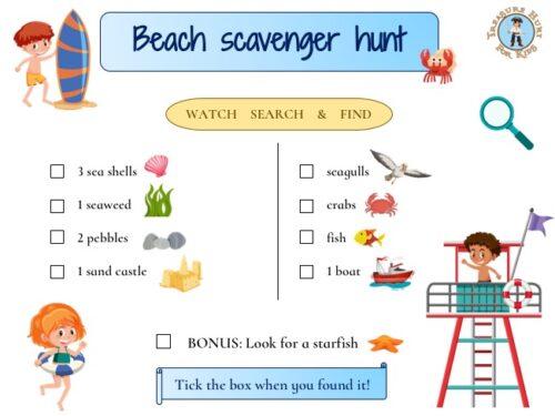 Free printable beach scavenger hunt