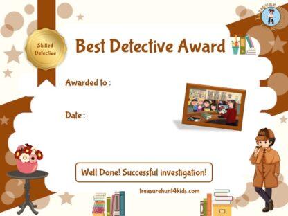 Printable detective award