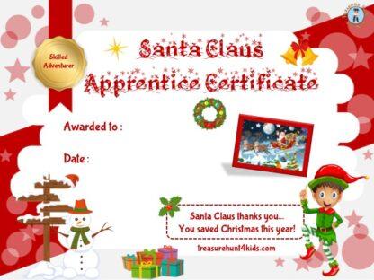 Santa Claus apprentice diploma to print for kids