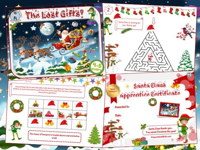 Christmas party game to print for kids: Xmas treasure hunt