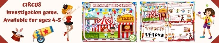 Detective investigation game for kids at the circus