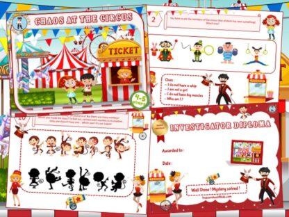 Circus-themed investigation party game for kids aged 4-5 years