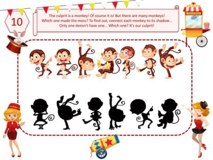 Circus investigation puzzle game for kids aged 4-5 years