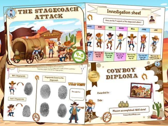Cowboy treasure hunt kit for kids birthday party