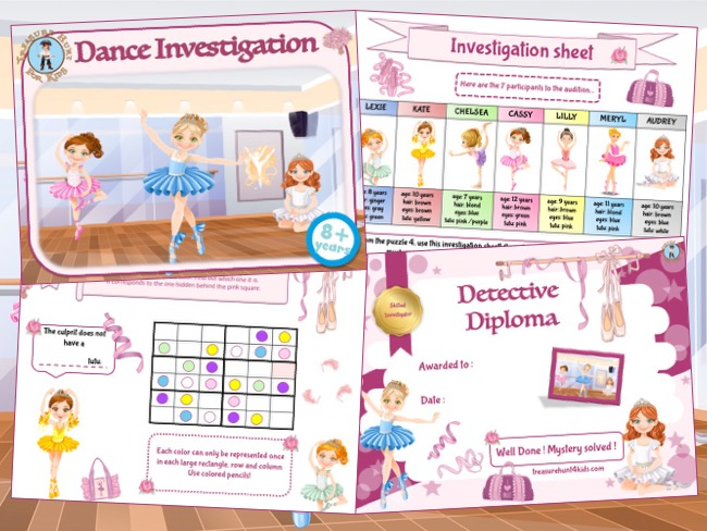 Dance party games: detective mystery game to print for kids