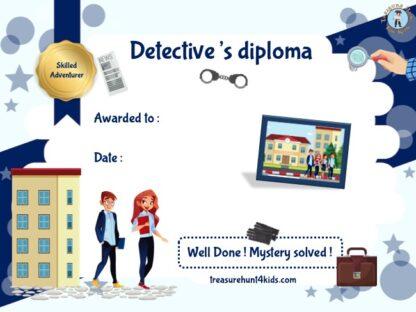 Printable and handwriting detective diploma