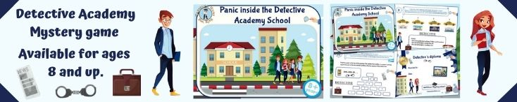 Detective academy mystery game for kids birthday party