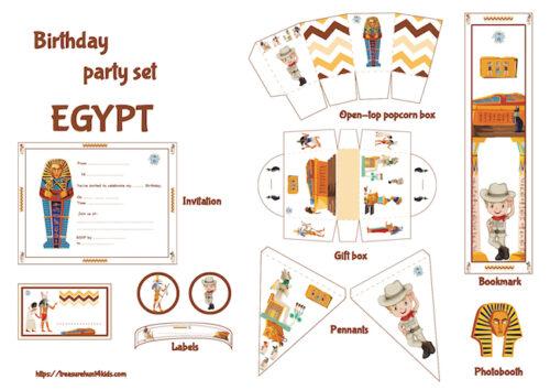 Egypt birthday party printables for kids