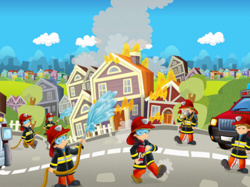 Firefighter adventure game for kids birthday party.